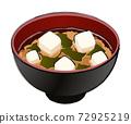 味噌湯配豆腐和裙帶菜 72925219