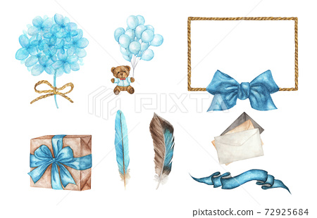 set with bear, balloons, gift box, ribbon, envelopes, flower, rope frame and feather. Watercolor illustration. 72925684