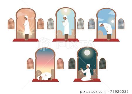 Islam, prayer, ceebration, religion set concept 72926085
