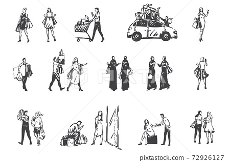 Shopping day, people making purchases concept sketch. Hand drawn isolated vector 72926127