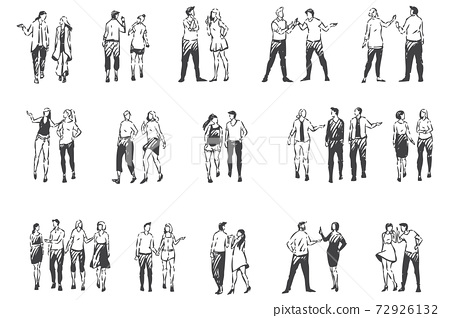 People communicating and walking outside concept sketch. Hand drawn isolated vector 72926132