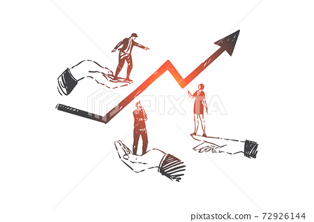 Business development, teamwork, career concept sketch. Hand drawn isolated vector 72926144
