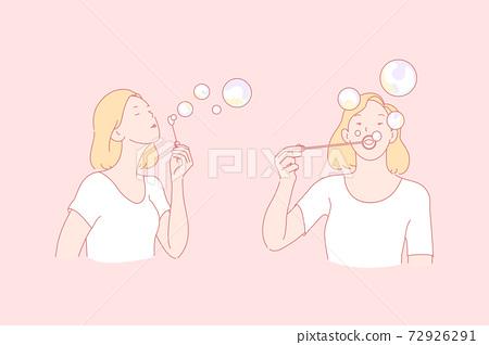 Making soap bubbles, childish plaything, entertainment concept 72926291