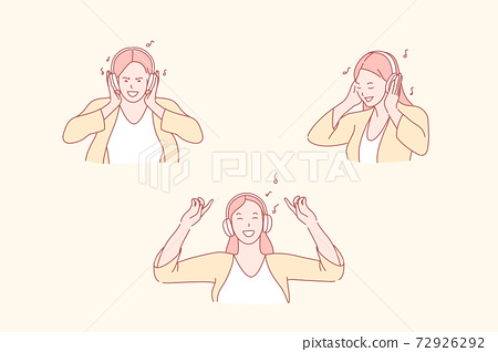 Listening to music, dance and relaxation, enjoyment concept 72926292