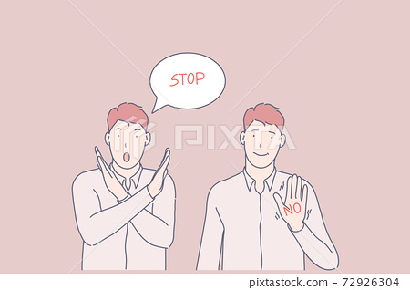 Sign language, call to stop, prohibition gesture concept 72926304