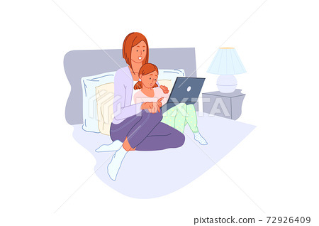 Family leisure, computer training, home entertainment, pc learning concept 72926409