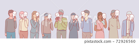 Set of multiethnic people with masks concept 72926560