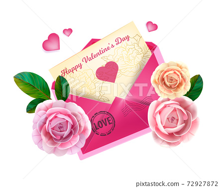 Love Valentines Day letter illustration with pink envelope, greeting card, roses, hearts, leaves 72927872