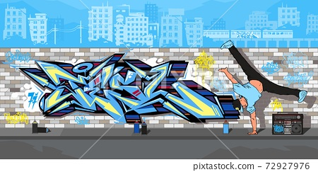 Streetart Graffiti Wall And B boy Dancing Against The Background Of The Cityscape Vector Illustration  72927976