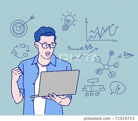 Happy businessman holding laptop and celebrating his success. Concept of success. Hand drawn in thin line style, vector illustrations. 72928753