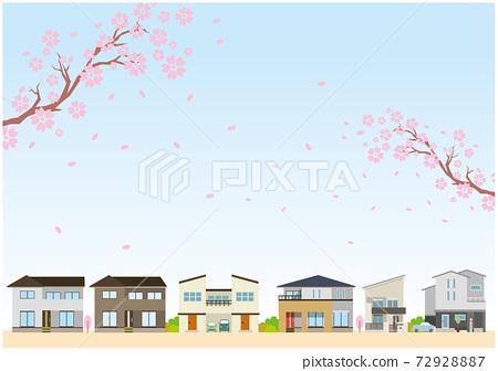 春天櫻花居住家庭住房 72928887