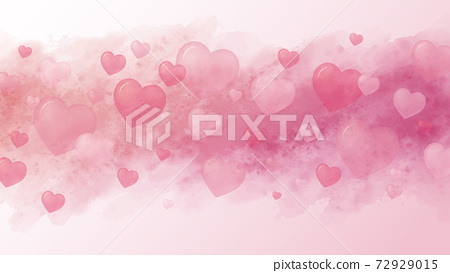 Love concept and Valentine's day background design of hearts and watercolor paintbrush vector illustration 72929015