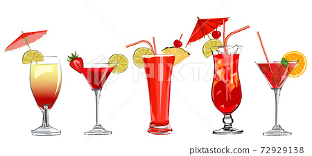 Set of cocktails in watercolor style 72929138