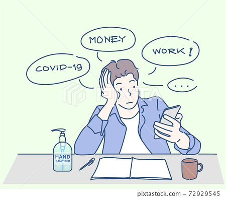 A boy sitting anxious about the COVID-19 situation. He work from home for coronavirus infection control. Hand drawn thin line style, vector illustrations. 72929545