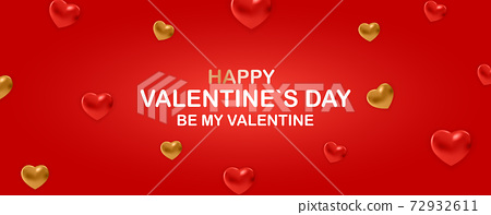 Valentine's Day Background Design with Heart. Template for advertising, web, social media and fashion ads. Poster, flyer, greeting card. Vector Illustration eps10 72932611