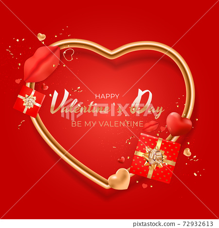 Valentine's Day Background Design with Realistic Lips and Heart. Template for advertising, web, social media and fashion ads. Poster, flyer, greeting card. Vector Illustration EPS10 72932613