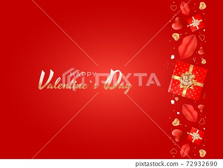 Valentine's Day Background Design with Realistic Lips and Heart. Template for advertising, web, social media and fashion ads. Poster, flyer, greeting card. Vector Illustration EPS10 72932690