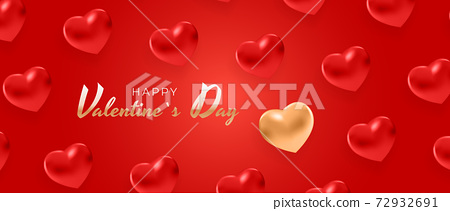 Valentine's Day Background Design with Heart. Template for advertising, web, social media and fashion ads. Poster, flyer, greeting card. Vector Illustration EPS10 72932691