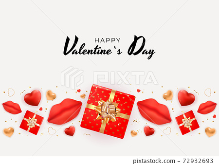 Valentine's Day Background Design with Realistic Lips and Heart, gift box. Template for advertising, web, social media and fashion ads. Poster, flyer, greeting card. Vector Illustration 72932693