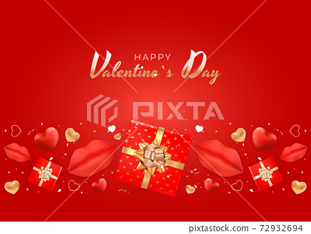 Valentine's Day Background Design with Realistic Lips and Heart, gift box. Template for advertising, web, social media and fashion ads. Poster, flyer, greeting card. Vector Illustration 72932694