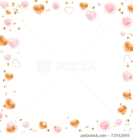 Valentine's Day Background Frame Design with Heart. Template for advertising, web, social media and fashion ads. Poster, flyer, greeting card. Vector Illustration EPS10 72932695