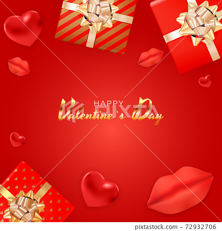 Valentine's Day Background Design with Realistic Lips and Hearts, Gift box. Template for advertising, web, social media and fashion ads. Poster, flyer, greeting card. Vector Illustration EPS10 72932706