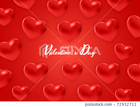 Valentine's Day Background Design with Hearts.. Template for advertising, web, social media and fashion ads. Poster, flyer, greeting card. Vector Illustration EPS10 72932711