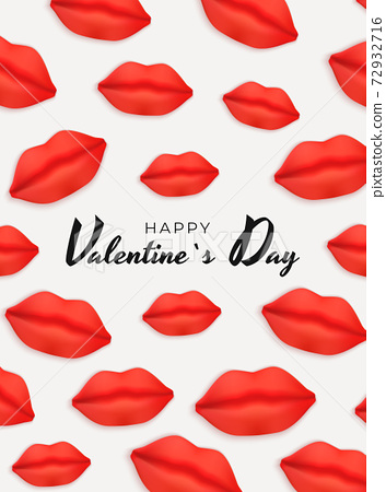 Valentine's Day Background Design with Realistic Lips.. Template for advertising, web, social media and fashion ads. Poster, flyer, greeting card. Vector Illustration EPS10 72932716