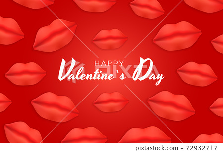 Valentine's Day Background Design with Realistic Lips.. Template for advertising, web, social media and fashion ads. Poster, flyer, greeting card. Vector Illustration EPS10 72932717