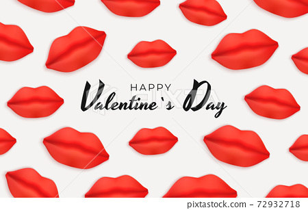 Valentine's Day Background Design with Realistic Lips.. Template for advertising, web, social media and fashion ads. Poster, flyer, greeting card. Vector Illustration EPS10 72932718