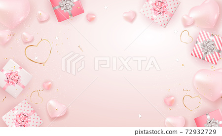 Valentine's Day Background Design. Template for advertising, web, social media and fashion ads. Horizontal poster, flyer, greeting card, header for website Vector Illustration EPS10 72932729