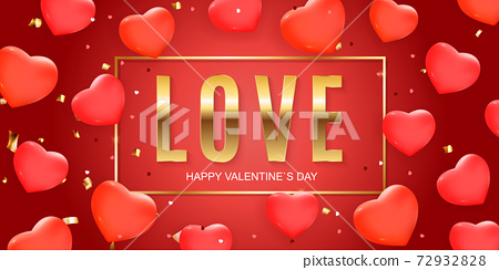 Valentine s Day banner Background Design. Template for advertising, web, social media and fashion ads. Horizontal poster, flyer, greeting card, header for website Vector Illustration eps10 72932828