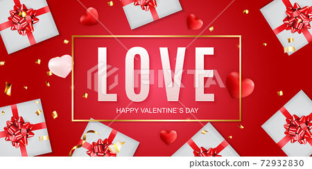 Valentine s Day banner Background Design. Template for advertising, web, social media and fashion ads. Horizontal poster, flyer, greeting card, header for website Vector Illustration eps10 72932830