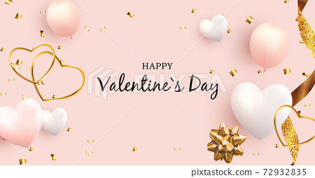 Valentine's Day Love and Feelings banner Background Design. Template for advertising, web, social media and fashion ads. Horizontal poster, flyer, greeting card, header for website. Vector 72932835