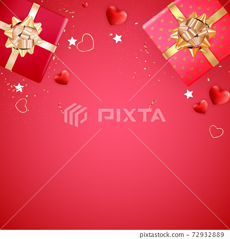 Valentine's Day Background Design. Template for advertising, web, social media and fashion ads. Poster, flyer, greeting card, header for website Vector Illustration EPS10 72932889