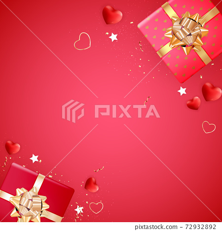 Valentine's Day Background Design. Template for advertising, web, social media and fashion ads. Horizontal poster, flyer, greeting card, header for website Vector Illustration EPS10 72932892