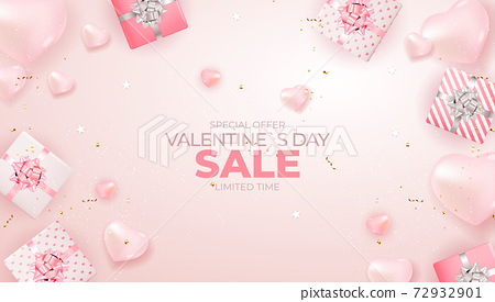 Valentine's Day sale banner Background Design. Advertising, web, social media and fashion ads. Horizontal poster, flyer, greeting card, header for website Vector Illustration EPS10 72932901