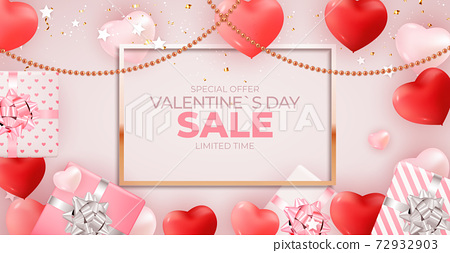 Valentine's Day sale banner Background Design. Template for advertising, web, social media and fashion ads. Horizontal poster, flyer, greeting card, header for website Vector Illustration EPS10 72932903