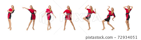 Beautiful lady in red black dress isolated on white 72934051