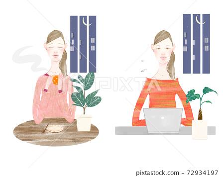 一个女人在晚上在家放松和工作的疲惫和疲惫的女人的插图 72934197