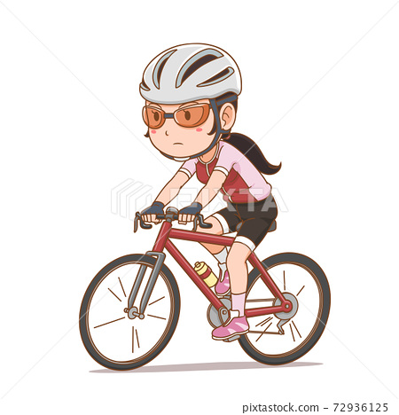 Cartoon character of cyclist girl. 72936125