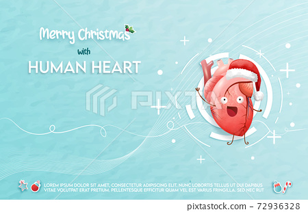 The human heart celebrates Christmas eve. A concept hospital for wallpaper and web.	 72936328