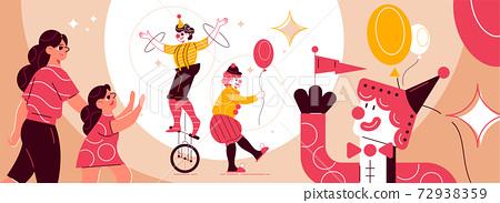 Circus Clowns Funfair Composition 72938359