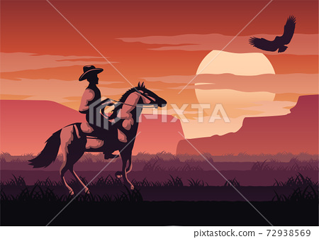 silhouette and monochrome scenery cowboy in Savannah field go back home on sunset time,red color style 72938569
