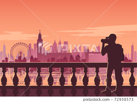 tourist take photo of famous place called Big Ben,landmark of England on sunset time,vintage color style 72938573