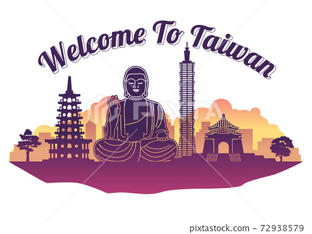 Taiwan top famous landmark silhouette style on island, welcome to Taiwan,travel and tourism 72938579