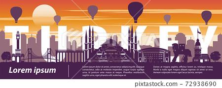 Turkey famous landmark silhouette style,text within,sunset time,balloon above 72938690