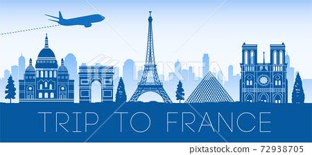 France famous landmark blue silhouette design 72938705