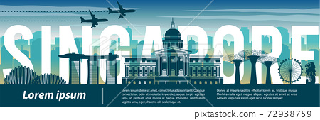 Singapore famous landmark silhouette style,text within,travel and tourism,blue tone color theme 72938759