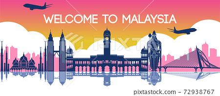 famous landmark of Malaysia,travel destination,silhouette design 72938767